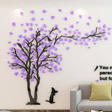 Lovers Tree Three Dimensional Acrylic Wall Stickers For Home Decoration Mold Tv Background Wall With Little Dog Colourful Leaves Please Note Inexpensive Wall Decals Inspirational Wall Decals From Charleni 19 82 Dhgate Com