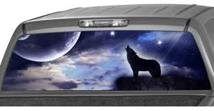 Howling Wolf Rear Window Graphic Decal Tint Perf Sticker For Etsy