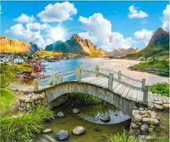 3d خلفية الصورة المخصصة جميلة للغاية المناظر الطبيعية بحيرة مشهد