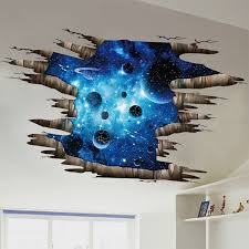 Galaxy Planet Space Murals Wall Decal Creative 3d Cosmic Milky Way Floor Ceiling Window Removable Wall Stickers Self Adhesive Wallpaper Decor For Home Walmart Com Walmart Com