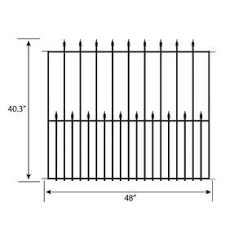 No Dig Actual 3 37 Ft X 4 12 Ft Grand Empire Powder Coated Steel Pressed Point Decorative Metal Fence Panel Lowes Com In 2020 Metal Fence Panels Fence Panels Metal Fence