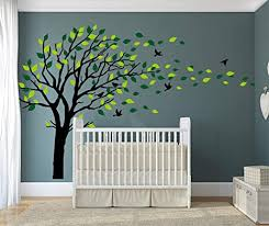 Amazon Com Luckkyy Large Tree Wall Stickers Mural Tree Wall Decal Tree Blowing In The Wind Tree Wall Decals Wall Sticker Family Tree Family Wall Sticker Kids Rooms Nursery Decals Black Arts Crafts