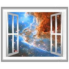 Space Nebula Wall Decal 3d Window Wall Sticker Window Frame Etsy Wall Stickers Window Butterfly Wall Decals Star Wall Decals