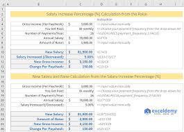 calculate salary increase percene