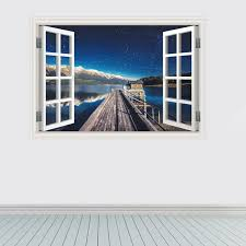 Creative Home Decor 3d Fake Window Wall Stickers Seaport Night Pattern For Living Room Mural Art Decal Wallpaper 60 90 Cm Creative Home Decor Olivia Decor Decor For Your Home And Office