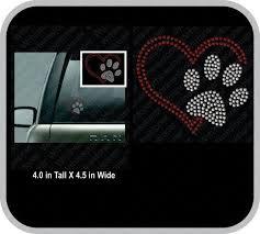 Paw Print With Heart Rhinestone Car Decal Rhinestone Sticker Etsy