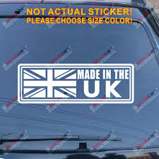 Amazon Com Made In The Uk Union Jack Flag Decal Sticker British Car Vinyl Pick Size Color White 24 61 0cm Arts Crafts Sewing