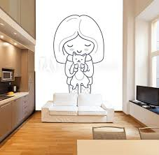 Girl With Cat Cute Cartoon Character Vector Illustration For Coloring Book Print Card Postcard Poster T Shirt Tattoo Wall Mural Anastasia