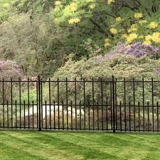 Empire 30 In X 36 In Black Steel 3 Rail Fence Panel 860190 The Home Depot In 2020 Garden Fence Fence Landscaping Fences Alternative