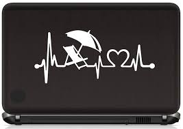 Beach Chair Umbrella Heartbeat Decal Sticker For Car Window Bg 369 8 Inch Decals