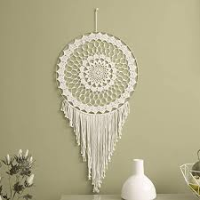 Amazon Com Motini 2 Pack Dream Catcher For Kids Bedroom Handmade Circle White Net Dreamcatcher With Boho Tassels For Wall Art Hanging Home Decorations Dorm Room Ornament Craft Gift Dia 19 7 Length 38