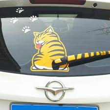 1x Funny Cartoon Cat With Wagging Tail Car 3d Wiper Decal Car Rear Window Decal