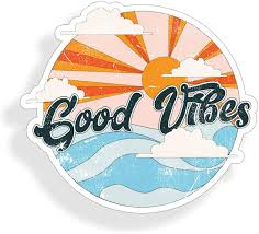 Amazon Com Good Vibes Ocean Sticker Beach Sun Wave Cup Cooler Laptop Car Vehicle Window Bumper Vinyl Decal Graphic Arts Crafts Sewing