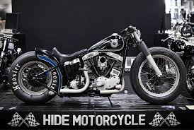 hide night sky bobber shovelhead bike