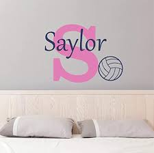 Amazon Com Custom Name Volleyball Wall Decal Boys Girls Personalized Name Volleyball Sports Wall Sticker Custom Name Sign Custom Name Stencil Monogram Boys Girls Room Wall Decor Handmade