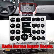 1 2pcs Radio Audio Repair Kit Replacement Buttons Sticker Decal Button Repair Stickers For Mercedes Benz C E Glk And W Class Cars 2007 2014 Wish