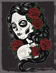 Dia De Los Muertos Woman With Red Rose Vinyl Decal Sticker Shinobi Stickers