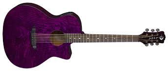 Gypsy Quilt Ash A/E Trans Purple   Luna Guitars