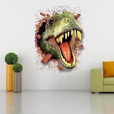 Amazon Com Couplebracelets Generic 3d Dinosaur T Rex Head Wall Sticker Art Decor Boys Bedroom Vinyl Mural Decal Home Kitchen
