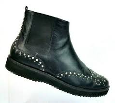 black leather studded ankle boots flat