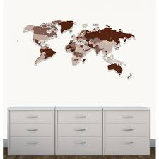 Kids Wall Art Of World Map Decal In Brown