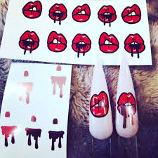 Sassy Lip Kit Lips Nail Art Decal With Rose Gold Vinyl Lips Drips And Queen Of Decals