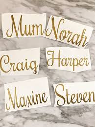 Gold Name Decal Matte Gold Custom Name Gold Script Font Letters Monogram Decal Laptop Sticker Macbook Decal Wall Decal By Bags Of Favours Catch My Party