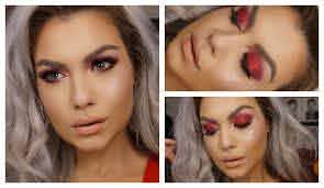 lady a red glitter eyes makeup