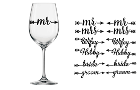 His Hers Wedding Wine Glass Vinyl Stickers Wine Glass Vinyl Personalized Vinyl Decal Wine Glass