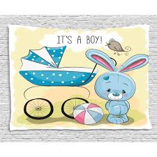 Gender Reveal Decorations Tapestry Cute Bunny Baby Carriage And Ball It S Boy Kids Design Wall Hanging For Bedroom Living Room Dorm Decor 80w X 60l Inches Avocado Green Blue By Ambesonne