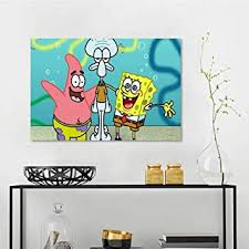 Amazon Com Wall Picture Decoration Spongebob Squarepants Wall Stickers For Kids Room W36 X L24 Inch Baby