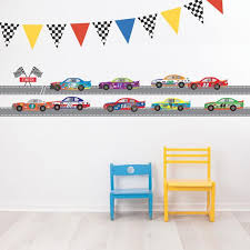 Race Car Wall Decals Plus Straight Race Track Checkered Flags Etsy