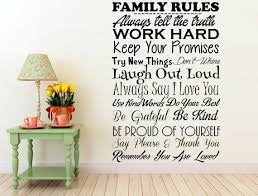 Wall Decal Sticker Of Family Rules Inspirational Wall Signs