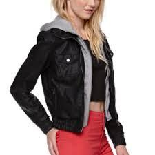 nollie faux leather fleece hood jacket