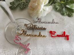 wine glass charms personalized name