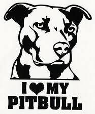 Pitbull Mom Vinyl Decal Sticker Car Window Bumper Wall I Love My Rescue Dog For Sale Online