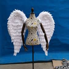 pink white black red large angel wings