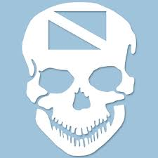 Scuba Skull Vinyl Decal White 5 5 X 8 14cm X 20 3cm Au B253