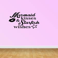 Mermaid Kisses Starfish Wishes Quote Vinyl Wall Decals Beach Theme Pc217 Walmart Com Walmart Com