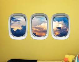 Airplane Window Decals For Kids Room Aircraft Vinyl Wall Mural Stick