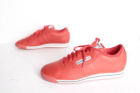 red leather low tops basketball