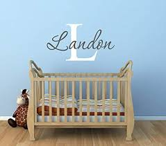 Amazon Com Baby Boy Nursery Name Wall Decals Nursery Wall Decal Baby Wall Decals Boys Name Decal Monogram Wall Decal Made In Usa Big Size Home Kitchen