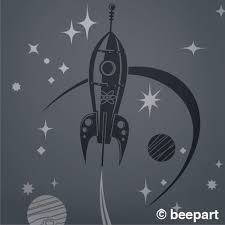 Rocket Ship Wall Decal Mid Century Space Ship Art Retro Rocket Sticker Art Vintage Space Decor