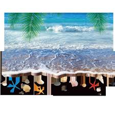 3d Sea Wave Sand Beach Palm Tree Leaves Shell Wall Stickers Living Room Bathroom Wallpaper Decor Poster Vivid Blue Sea Motif Wall Applique Room Stickers Room Stickers Decorations From Magicforwall 6 22 Dhgate Com