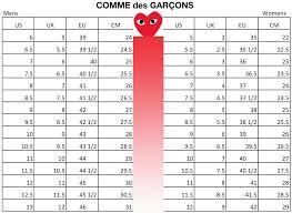 COMME des GARCONS Shoes Size Chart ...