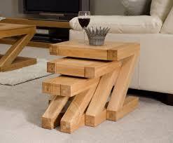 z shape solid oak nest of tables oak