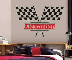 Personalized Name Wall Decal Racing Flags Wall Decal Boys Kids Etsy
