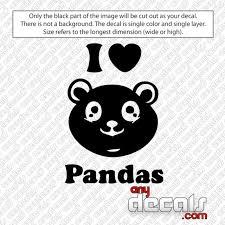 Love Car Decals Car Stickers I Love Panda Car Decal Anydecals Com