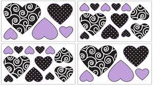 Purple And Black Kaylee Baby Childrens And Teens Wall Decal Stickers By Sweet Jojo Designs Set Of 4 Sheets Only 24 99