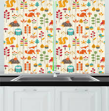 Children Curtains 2 Panels Set Cute Kids Autumn Pattern With Owl Fox Squirrel Birds Animal Leaves Artsy Print Window Drapes For Living Room Bedroom 55w X 39l Inches Multicolor By Ambesonne